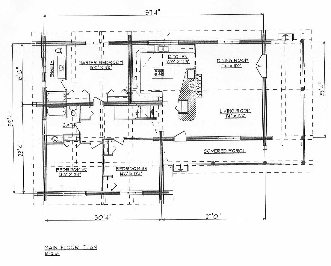 Log home plans ranchers dds1942w for Log home house floor plans